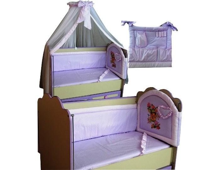 Комплект в кроватку Селена (Сдобина) для новорожденного 17 (8 предметов)для новорожденного 17 (8 предметов)Комплект в кроватку для новорожденного из 8 предметов:  Состав:  1. Одеяло – 110х140 - (бязь — хлопок 100%; наполнитель - шерсть); 2. Подушка – 40х60 - (бязь — хлопок 100%; наполнитель - шерсть); 3. Бампер – 4 стороны (360 см) - (бязь — хлопок 100%; наполнитель - холлофайбер); 4. Балдахин - тюль (сетка) с отделкой из х/б ткани – (стандарт 500х170); 5. Пододеяльник – 112х142 - (бязь — хлопок 100 %); 6. Простынка с резинкой - (бязь — хлопок 100 %); 7. Наволочка 42х62 - (бязь — хлопок 100 %); 8. Сумка прикроватная (кармашек) - (бязь — хлопок 100 %, наполнитель - холлофайбер).<br>