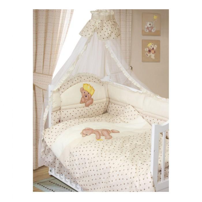 Комплект в кроватку Золотой Гусь Мишка-Царь (8 предметов)Мишка-Царь (8 предметов)Комплект в кроватку Мишка-Царь (8 предметов) состоит из:   подушка: 40х60 холлофан  простыня на резинке: 110х150  бампер (6 частей): 360х45  балдахин (сетка): 160х450  наволочка: 40х60  пододеяльник на молнии: 110х145  подматрасник (юбка)  одеяло: 108х140 холлофан.  Рисунок: вышивка. ткань: хлопок 100%. наполнитель: холлофан.  Цвета: арт. 1083 - бежевый, арт. 1084 - зеленый, арт. 1082 - голубой, арт. 1086 - розовый.<br>