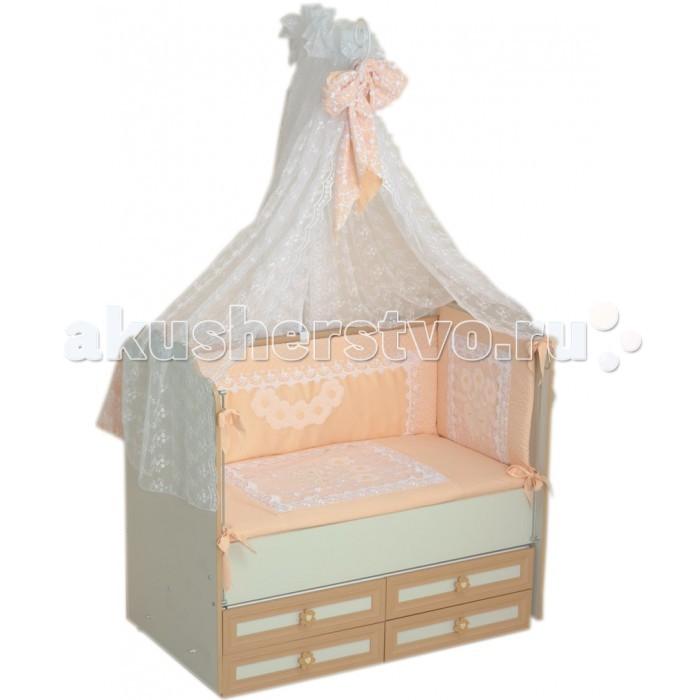 Комплект в кроватку Селена (Сдобина) Императорский (7 предметов)Императорский (7 предметов)Комплект не вызывает аллергических реакций и предназначен для малышей с рождения. Хлопковое белье способствует улучшению терморегуляции. Украшен вышивкой - аппликацией.   Комплект в кроватку 7 предметов:  1. одеяло 110х140 (холлофайбер); 2. подушка 40х60 (холлофайбер); 3. бампер состоит из 4 частей (съемный чехол); 4. балдахин-органза; 5. простынка 60х120; 6. наволочка 40х60; 7. пододеяльник 110х140.  Ткань: 100% хлопок(сатин).  Наполнитель: холлофайбер.  Цвета: розовый, голубой, бежевый(молочный), салатовый, персиковый, фиолетовый<br>