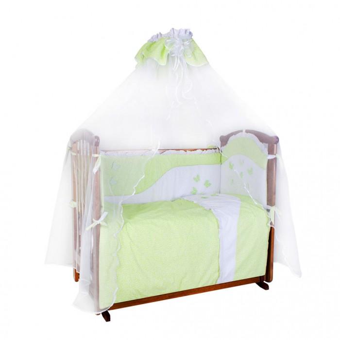 Комплект в кроватку Ангелочки Бабочки (7 предметов)Бабочки (7 предметов)Комплект в кроватку Ангелочки Бабочки (7 предметов)  Защищают голову и тело малыша по всему периметру кроватки. Не задерживают воздух – естественная вентиляция. Ребенок не может вывалиться из кровати, использовав борт как ступеньку. Нет опасных завязок, в которых можно запутаться.  Комплектация:  Борт раздельный с вышивкой высота 40 см  (верх - бязь набивная, наполнитель - ПЭ) Балдахин 1,80х4,60 м  (сетка, бязь набивная)  Одеяло 140х110 см  (верх - бязь отбеленная, наполнитель - ПЭ) Подушка 40х60 см  (верх - бязь отбеленная, наполнитель - ПЭ) Пододеяльник с вышивкой 147х112 см (бязь набивная) Простыня на резинке 120х60 см (бязь набивная) Наволочка 40х60 см (бязь набивная)<br>