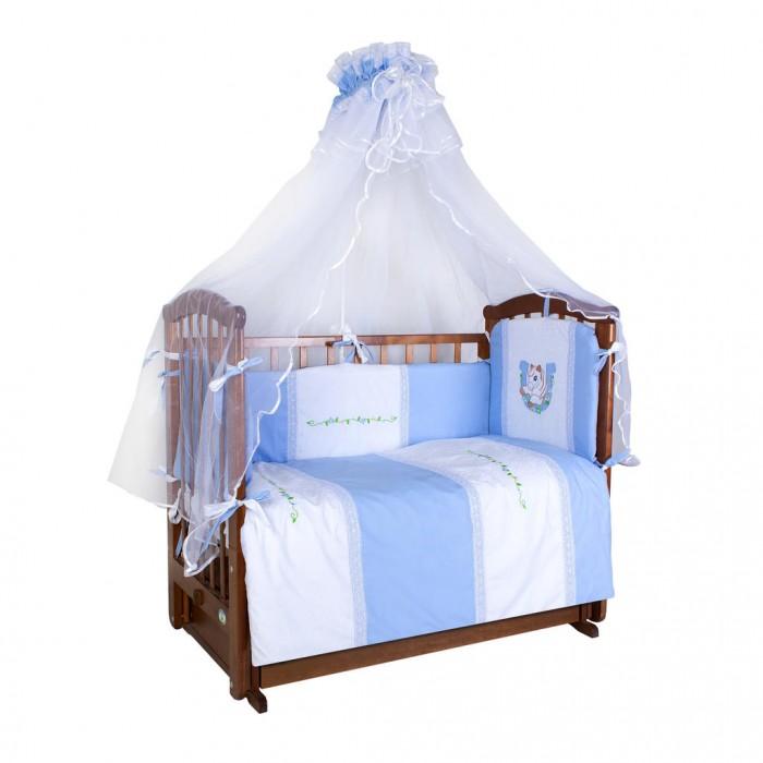 Комплект в кроватку Ангелочки Лошадка (7 предметов)Лошадка (7 предметов)Комплект в кроватку Ангелочки Лошадка (7 предметов) для вашей малышки!  Малышу понравится яркий рисунок на белье, которым он сможет любоваться каждый вечер. Добрые картинки навеют добрые сны вашему ребенку.Данная ткань является очень легкой, дышащей и приятной на ощупь. Простынка на резинке не позволит лишним складкам воздействовать на кожу ребенка. Нет опасных завязок, в которых можно запутаться.  В комплект входит:  Борт раздельный с вышивкой из 4-х частей  со съёмными чехлами высота 40 см  (верх - сатин, наполнитель - ПЭ)  Балдахин 1,80х4,60 м  (сетка, сатин)  Одеяло 140х110 см  (верх - бязь отбеленная, наполнитель - ПЭ) Подушка 40х60 см  (верх - бязь отбеленная, наполнитель - ПЭ) Пододеяльник с вышивкой 147х112 см (сатин) Простыня на резинке 120х60 см (сатин) Наволочка 40х60 см (сатин)<br>