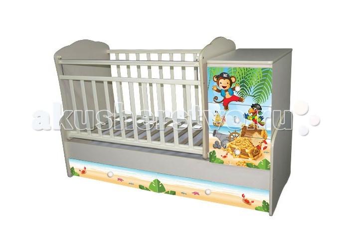 Кроватка-трансформер Антел Ульяна 1 Пираты поперечный маятникУльяна 1 Пираты поперечный маятникКроватка-трансформер Антел Ульяна 1 Пираты поперечный маятник – кроватка 2 в 1, функциональная кроватка с встроенным комодом, позволяет значительно сэкономить пространство в детской комнате.  Кроватка Ульяна 1 сочетает в себе: кроватку; комод для хранения детских вещей; большой выдвижной ящик внизу кроватки.  Кроватка трансформер Ульяна-1 рассчитана для детей с рождения и до подросткового возраста. Чтобы увеличить размер спального места достаточно снять боковые стенки и комод.  Особенности: дно кроватки реечное имеет 2 уровня крепления по высоте. Поднятое ложе обеспечивает оптимальное положение грудного младенца, опущенное - гарантирует безопасность активного малыша боковая планка при необходимости легко снимается комод снимается, увеличивая размер спального места на 40 см.  Размеры кровати трансформера Ульяна 1: спальное место для новорожденного малыша – 120 х 60 см спальное место для подростка – 170 х 60 см  размеры комода – 40 см на 60 см.<br>