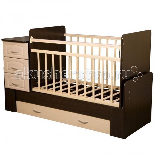 Кроватка-трансформер Антел Ульяна 1 поперечный маятникУльяна 1 поперечный маятникКроватка-трансформер Антел Ульяна 1поперечный маятник  Детская кровать трансформер Ульяна 1 с маятниковым механизмом поперечного качания – кроватка 2 в 1, функциональная кроватка с встроенным комодом, позволяет значительно сэкономить пространство в детской комнате.  Кроватка Ульяна 1 сочетает в себе: кроватку; комод для хранения детских вещей; большой выдвижной ящик внизу кроватки.  Кроватка трансформер Ульяна-1 рассчитана для детей с рождения и до подросткового возраста. Чтобы увеличить размер спального места достаточно снять боковые стенки и комод.  Характеристики кровати трансформера Ульяна-1: Дно кроватки реечное имеет 2 уровня крепления по высоте. Поднятое ложе обеспечивает оптимальное положение грудного младенца, опущенное - гарантирует безопасность активного малыша; боковая планка при необходимости легко снимается; комод снимается, увеличивая размер спального места на 40 см. размеры комода – 40 см на 60 см.<br>