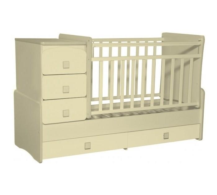 Кроватка-трансформер Антел Ульяна 2 поперечный маятникУльяна 2 поперечный маятникДетская кроватка-трансформер Антел Ульяна-2Б поперечный маятник – кроватка 2 в 1, функциональная кроватка с встроенным комодом, позволяет значительно сэкономить пространство в детской комнате.  Кроватка трансформер Ульяна-2 рассчитана для детей с рождения и до подросткового возраста. Чтобы увеличить размер спального места достаточно снять боковые стенки и комод.  Особенности: Дно кроватки реечное имеет 2 уровня крепления по высоте.  Поднятое ложе обеспечивает оптимальное положение грудного младенца, опущенное - гарантирует безопасность активного малыша; боковая планка при необходимости легко снимается; комод снимается, увеличивая размер спального места на 40 см.  Размеры кровати трансформера Ульяна 2: спальное место для новорожденного малыша – 120 х 60 см; спальное место для подростка – 170 х 60см ; размеры комода – 40 см на 60 см.  Материал: сосна + ДСП, фасад-МДФ.<br>