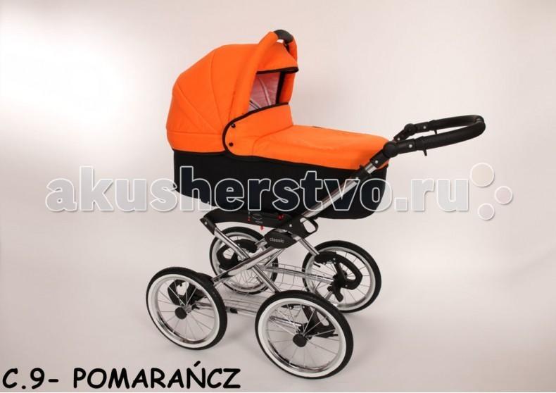 Коляска Baby-Merc Classic 2 в 1Classic 2 в 1Коляска Baby Merc Classic 2 в 1 - это универсальная коляска на классической раме для детей от рождения и до трех лет. Коляска изготовлена с использованием самых современных европейских технологий. Прочная и легкая рама.  Коляска очень манёвренна и легка в управлении благодаря большим надувным колесам, мягкой рессорной амортизации и комфортной подвеске. Модель представлена в большом количестве расцветок.  Рукоятка рамы с элементами в цвет коляски. Люлька дополняется дождевиком, москитной сеткой, глубокой, стильной сумкой для мамы и удобным держателем для бутылочки.  Основные характеристики рамы: ручка с регулировкой по высоте регулирование мягкости амортизации возможность установки люльки , прогулочного блока и автомобильного кресла в двух направлениях центральный тормоз на задней оси  Основные характеристики люльки: удобная ручка в капюшоне для переноски выдвижной солнцезащитный козырек внутри люлька отделана мягким материалом, который можно снимать для стирки подъемная спинка  Люлька: длина - 75 см, ширина - 36 см, глубина люльки - 24 см.<br>