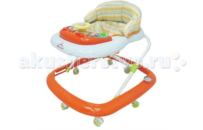 Ходунки Baby Care FlipFlipХодунки Baby Care Flip  Особенности: Силиконовые колёса. Мягкое сиденье. Съемная музыкально-игровая панель. Регулируемая высота от пола. Полностью съемная для обивка (для удобства стирки).   Вес 3 кг   Размеры упаковки 54 х 58 х 10 см   Вес упаковки 3.5 кг<br>