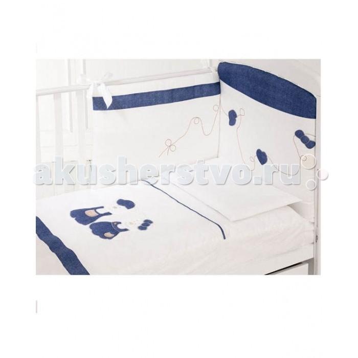 Комплект в кроватку Baby Expert Rubacuori (4 предмета)Rubacuori (4 предмета)Комплект Baby Expert Rubacuori для детской кроватки выполнен из высококачественного хлопка с аппликацией из джинсовой ткани.   Безукоризненное сочетание стиля и нежности создают комфорт Вашему малышу и обеспечат ему спокойный и здоровый сон.  Материалы: 100% натуральный хлопок - гипоаллерген и нетоксичен  Основные характеристики: отличается изысканным дизайном и качеством украшен аппликацией мишек в стиле коллекции наволочка с входным отверстием одеяло с пододеяльником 3-х сторонний бампер на завязках можно стирать в стиральной машине.  В комплекте: одеяло, пододеяльник, бампер для кроватки, наволочка  Общие размеры:  пододеяльник 100х130 см  одеяло 100х130 см  наволочка 58х38 см<br>