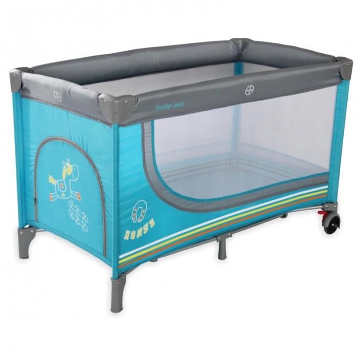 Манеж Baby Mix TravelTravelМанеж Travel  С замечательным манежем-кроваткой Baby Mix (Польша) у вашего малыша будет просторное место для игр, а также кровать для дневного отдыха или ночного сна. Вам не нужно будет волноваться за безопасность крохи, а также за его здоровье, так как манеж выполнен из качественных материалов.  Особенности товара: прочное и надежное дно прямоугольной формы; 2 в 1: детская кроватка и безопасный манеж для игр и сна; четыре устойчивые ножки + поперечная подпорка по центру; мягкая обивка предотвратит возможное травмирование крохи при случайном падении; сетчатые боковые стенки прекрасно пропускают воздух и свет; прочный каркас спрятан под мягкими набивными бортиками; удобная и простая складная конструкция (принцип «зонтик»); довольно просторное спальное место; в комплекте есть текстильный чехол для хранения и транспортировки; материалы изготовления: прочная ткань, пластик, металл; специальная предохранительная система от случайного складывания; яркая расцветка; легко содержать в чистоте.<br>
