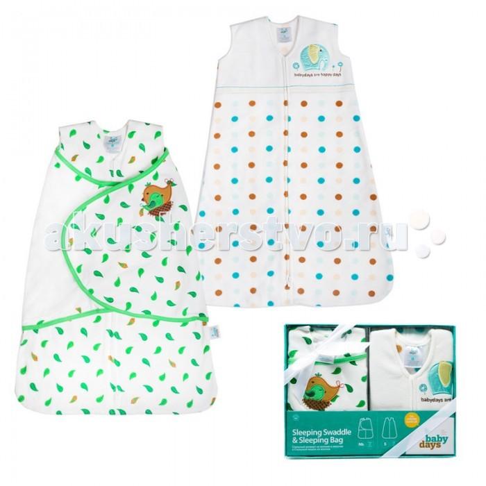 Спальный конверт HappyBabyDays и спальный мешоки спальный мешокПодарочный набор BabyDays из двух предметов. Спальный конверт на молнии и липучке изготовлен из натурального хлопка. Это отличный способ пеленания, позволяющий держать руки малыша как внутри, так и снаружи.   Спальный мешок на молнии из микрофлиса – это одновременно спальный мешок и теплое уютное одеяло. Спальный мешок надевается поверх обычной одежды для сна, обеспечивая максимальный комфорт и безопасность.  • Безрукавный крой снижает риск перегрева. • Безопасная молния застегивается сверху вниз, что делает удобным смену подгузников и не травмирует подбородок малыша. • Свободная нижняя часть изделий дает малышу достаточное пространство, чтобы двигать ножками: это необходимо для правильного развития тазобедренного сустава. • Спальные конверты и мешки babydays заменяют одеяло, безопасны и удобны в использовании как для малыша, так и для родителей.  Состав: 100% хлопок, 100% полиэстер Размер: спальный мешок - 0-6м, спальный конверт - 0-3м<br>