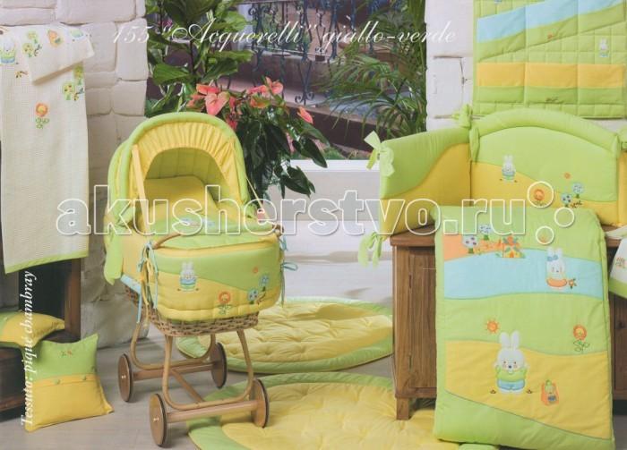 Постельное белье BabyPiu Acquerelli - комплект для кроватки: 2 простыни + наволочка