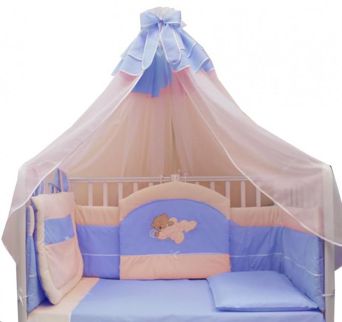 Комплект в кроватку Балу Мишутка (8 предметов)Мишутка (8 предметов)Комплект в кроватку Балу Мишутка состоит из 8 предметов. Красивый дизайн и нежные тона украсят любую комнату. Бампер комплекта наполнен специальным утеплителем для детского белья и одежды - синтепон, который надежно защитит малыша от сквозняков и травм.  Комплект состоит из 8 предметов: борт 3-х сторонний (высота 40 см)  балдахин 4.5 метра (вуаль) одеяло (100х140 см) пододеяльник (100х140 см) простынка (110х140 см) наволочка (40х60 см) подушка (40х60 см) карман   Ткань: велюр, бязь, вуаль, вышивка Наполнитель: синтепон<br>