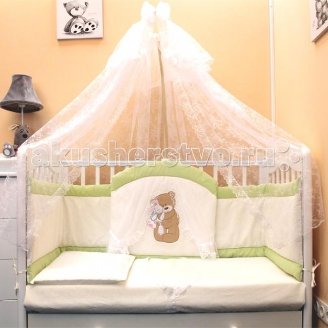 Комплект в кроватку Балу Спокойной ночи (7 предметов)Спокойной ночи (7 предметов)Комплект в кроватку Балу Спокойной ночи состоит из 7 предметов. Красивый дизайн и нежные тона украсят любую комнату. Бампер комплекта наполнен специальным утеплителем для детского белья и одежды - синтепон, который надежно защитит малыша от сквозняков и травм.  Комплект состоит из 7 предметов: борт 4-х сторонний (высота 40 см)  балдахин 4 метра (сетка) одеяло (100х140 см) пододеяльник (100х140 см) простынка (110х150 см) наволочка (40х60 см) подушка (40х60 см)   Ткань: велюр, бязь, сетка Наполнитель: синтепон<br>