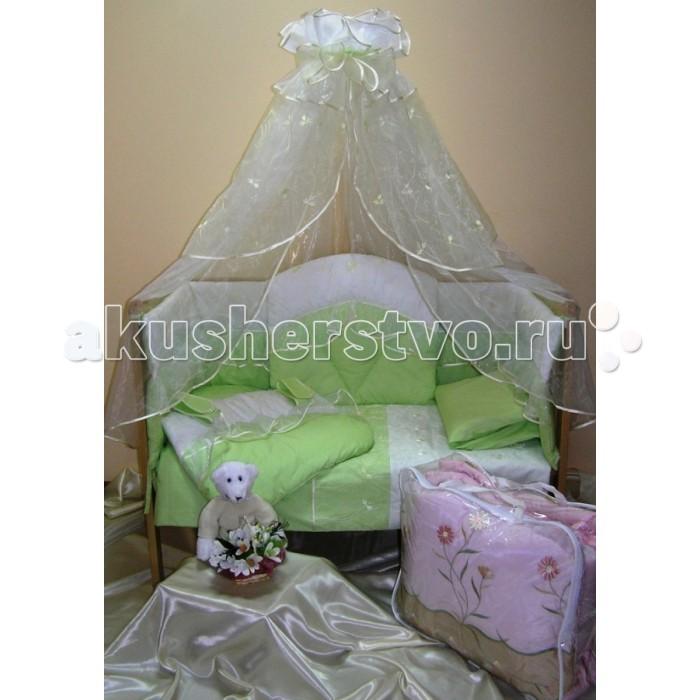 Комплект в кроватку Балу Версаль (8 предметов)Версаль (8 предметов)Комплект в кроватку Балу Версаль состоит из 8 предметов. Красивый дизайн и нежные тона украсят любую комнату. Бампер комплекта наполнен специальным утеплителем для детского белья и одежды - синтепон, который надежно защитит малыша от сквозняков и травм.  Комплект состоит из 8 предметов: борт 3-х сторонний (высота 40 см, несъемные чехлы)  балдахин 4.5 метра (вуаль) одеяло (100х140 см) пододеяльник (100х140 см) простынка (110х150 см) наволочка (40х60 см) подушка (40х60 см)  карман  Ткань: бязь, вышитая вуаль Наполнитель: синтепон<br>