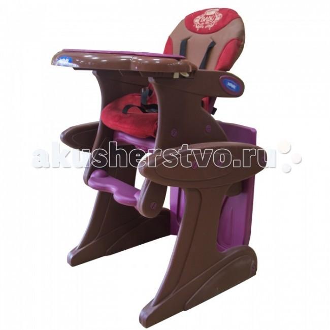 Стульчик для кормления Bambini Prima BabyPrima BabyCтул – трансформер Prima Baby трансформируется в стол со стулом. 5-точечные ремни безопасности удерживают ребенка в надежном и безопасном положении. Регулируемое положение спинки (3 положения). Мягкая обивка снимается и моется.  Особенности: Съемный, моющийся чехол кресла из замши и перфорированной кожи. Пятиточечный ремень безопасности. Пластмассовая подставка для ног. Съемный столик со съемной столешницей. Стульчик для кормления может трансформироваться в стульчик с партой. Для этой цели в комплекте есть дополнительная столешница. 3 положения наклона спинки. 3 положения глубины столешницы. Съемный вкладыш-поднос.<br>