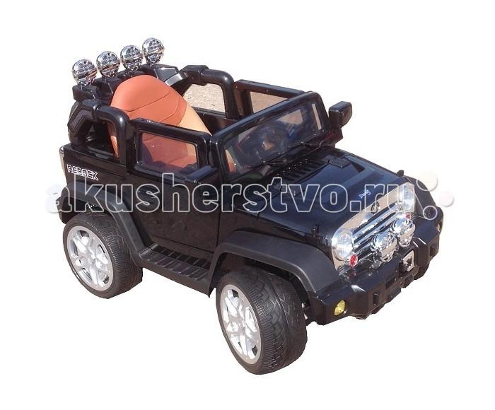 Электромобиль Barty Jeep WranglerJeep WranglerМощный двухмоторный внедорожник Barty Jeep Wrangler разгоняется до 6 км/ч, обладает отличной проходимостью и сцеплением с дорогой благодаря высокому клиренсу и резиновым eva колесам с агрессивным протектором.   Вашему ребенку обязательно понравятся прогулки за рулем этого внедорожника, так как в машинке все продумано для комфорта маленького водителя: двери открываются, эргономичное кресло выполнено из эко-кожи, есть система амортизации, боковые зеркала, usb разъем для прослушивания музыки, а также яркая подсветка, которая сделает электромобиль особенно заметным в вечернее время. Вы можете не волноваться о безопасности Вашего малыша, электромобиль укомплектован надежным ремнем безопасности и пультом дистанционного контроля.  Для детей от 3 - 6 лет  Колеса EVA (пористая резина). Агрессивный протектор.  Пульт родительского контроля индивидуальный (Bluetooh)  Максимальная скорость 6 км, задняя скорость  Максимальная нагрузка 30 кг  Аккумулятор 12V/7Ah  Время работы аккумулятора 60-120 мин.  Количество мест 1  Количество двигателей 2  Количество скоростей 3  Зеркала заднего вида   Двери открываются  Материал сидений Эко-кожа  Амортизаторы  Плавный старт  Свет фар  Разъём USB  Звуковые сигналы  Ремень безопасности<br>