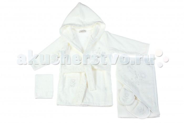 Халат Bebitof Baby Подарочный набор (4 предмета) BBTF-3205Подарочный набор (4 предмета) BBTF-3205Bebitof Baby Подарочный набор (4 предмета) BBTF-3205 включает в себя халат, пинетки, варежку и банное полотенце.   Все вещи выполнены из уютного махрового материала и декорированы цветной отстрочкой и симпатичными вышивками.   Халат имеет капюшон, длинные рукава, накладной кармашек и пояс.   Длина халата по спинке 48 см., длина рукава - 29 см. Размеры полотенца ок. 80х80 см.<br>