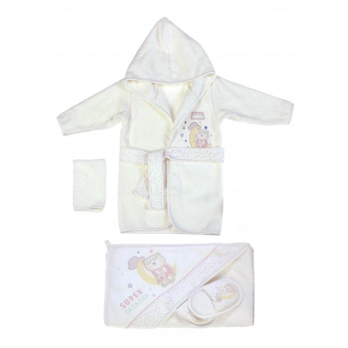 Халат Bebitof Baby Подарочный набор (4 предмета) BBTF-3221Подарочный набор (4 предмета) BBTF-3221Bebitof Baby Подарочный набор (4 предмета) BBTF-3221 включает в себя халат, пинетки, варежку и банное полотенце.   Все вещи выполнены из уютного махрового материала и декорированы цветной отстрочкой и симпатичными вышивками.   Халат имеет капюшон, длинные рукава, накладной кармашек и пояс.   Длина халата по спинке 48 см., длина рукава - 29 см. Размеры полотенца ок. 80х80 см.<br>