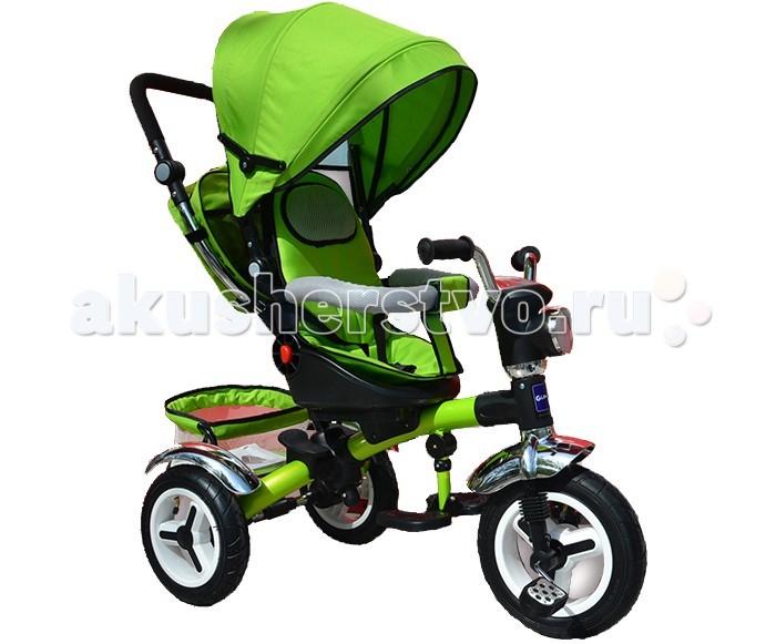 Велосипед трехколесный Glamvers Lion фара, надувные колесаLion фара, надувные колесаВелосипед трехколесный Glamvers Lion фара, надувные колеса позволит Вам использовать его как прогулочную коляску: если малыш устанет ехать сам или уснет по дороге, его всегда сможет довезти мама. Ведь высокая спинка велосипеда регулируется в трех положениях, разворачивается на 360 градусов.: она поддержит спинку и голову ребенка. Большой капюшон защитит от дождя или яркого солнца.   Сидение разворачивается на 360 градусов, легкая, но прочная рама, перламутровое покрытие дисков, надувные колеса диметр переднего 29 см/ задних 25 см., эргономичные съемные подножки, дополнительные подножки для детей постарше (в возрасте от 2 лет), резиновые накладки на педалях, съемный барьер безопасности, съёмная багажная корзинка + съемная сумочка чехол на родительской ручке, мягкий съемный чехол на сиденье, регулируемый козырек со смотровым окном, галогеновая фара, музыкальная панель,2 угла наклона спинки.<br>