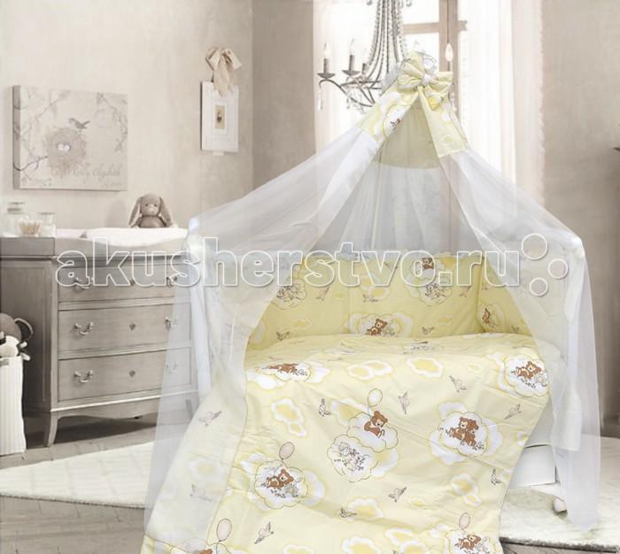 Комплект в кроватку Bombus Сладкий сон (7 предметов)Сладкий сон (7 предметов)Комплект в кроватку Bombus Сладкий сон (7 предметов) станет прекрасным украшением для любой детской.  Комплект выполнен из высококачественной хлопковой ткани с нежным рисунком (принтом). Натуральный хлопок обладает успокаивающим действием на кожу. Поэтому комплект «Сладкий сон», который изготовлен из 100% хлопка, дарит нежность и невероятный комфорт во время отдыха. Малыш будет с интересом разглядывать облачка и маленьких мишек на бампере.   В качестве наполнителя используется Холлкон, он хорошо пропускает влагу, гипоаллергенный, дышащий и создает комфортный микро – климат в кроватке. Бортики по всему периметру кроватки сделают сон малыша безопасным. Нежный балдахин с объемным бантом изготовлен из мягкой и нежной вуали. Это элегантный и красивый аксессуар для детской кроватки. Создает ощущение уюта и красоты.   Комплект состоит из 7 предметов:  бампер охранный (360 см х 40 см) пододеяльник (110 см х 148 см) одеяло (108 см х 145 см) подушка (40 см х 60 см) наволочка (40 см х 60 см) простыня (100 см х 150 см) балдахин (170 см х 400 см)  Дополнительно Вы так же можете заказать постельный комплект «Сладкий сон» 3  предмета.  Производитель оставляет за собой право изменять рисунки на ткани.<br>