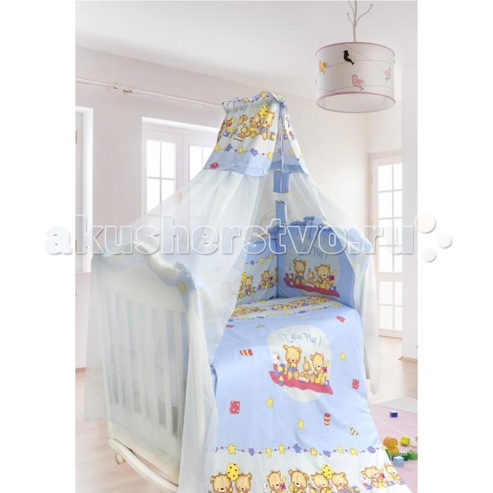 Комплект в кроватку Bombus Давай поиграем (7 предметов)Давай поиграем (7 предметов)Веселые медвежата приглашают вашего малыша поиграть в свою компанию. Такая позитивная расцветка будет способствовать хорошему настроению вашего маленького чуда во время бодрствования, а прекрасное исполнение комплекта – отличному здоровью.  Этот комплект прекрасно впишется в любой интерьер. Рисунок очень позитивный, любому малышу понравится рассматривать медвежат на бампере комплекта. Комплект выполнен из высококачественной хлопковой ткани.  Сделанный из натурального хлопка с веселым рисунком, такой комплект подарит малышу спокойный сон. В качестве наполнителя используется Холлкон, он хорошо пропускает влагу, гипоаллергенный, дышащий и создает комфортный микро – климат в кроватке.  Нежный балдахин изготовлен из мягкой вуали и отделан вставкой из принта.   Комплект состоит из 7 предметов :  пододеяльник на молнии (145 см х 100см) одеяло (142 см х 98 см) бампер (360см х 40 см) подушка (40 см х 60 см) наволочка (40 см х 60 см)  простыня (100 см х 150 см) балдахин (400 см х 175 см)  Ткань - супер-коттон (нежный хлопок) Наполнитель гиппоалергенный холлкон Производитель оставляет за собой право изменять рисунки на ткани.<br>
