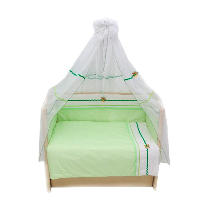 Комплект в кроватку Bombus Пиратик (7 предметов)Пиратик (7 предметов)Комплект постельного белья для кроватки Bombus Пиратик из 100% хлопка станет прекрасным украшением для детской и сделает кроватку вашего малыша более уютной комфортной и красивой.   В комплект входит :  балдахин - вуаль 170x400см одеяло 105x142см (наполнитель холлкон) подушка 60x40см простыня 100x150см пододеяльник 110x145см наволочка 60x40см бампер 360x40см (наполнитель холлкон)<br>