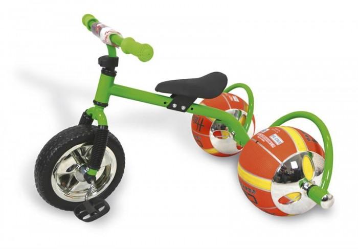 Велосипед трехколесный Bradex с колесами в виде мячей Баскетбайкс колесами в виде мячей БаскетбайкBradex Велосипед с колесами в виде мячей Баскетбайк. О своем велосипеде мечтает каждый ребенок. Что может сделать его лучше? Только мяч в виде колеса! Почему бы не совместить все лучшее в спорте в одном предмете? Удобно, практично, не занимает много места, а главное - надежно. Угнать такой байк - невозможно. Пока ваш ребенок играет с друзьями в мяч, его велосипед будет в полной безопасности. Средство передвижения выдерживает до 30 килограмм и подарит малышу множество счастливых спортивных часов. Увлеченный игрой он и не заметит, как улучшится работа легких, ноги станут более натренированными, улучшится координация, а сам он приобретет полезную привычку – заниматься спортом – которая улучшит его жизнь. Подарите своему ребенку шанс на здоровое, счастливое будущее. Увлеките его спортом, с помощью оригинального велосипеда с мячами вместо колес!  Способ применения: Вставьте вилку передней оси в круглую трубку на раме переднего колеса Наденьте зажим на вилку передней оси, а декоративный чехол на руль и вставьте эту конструкцию в вилку передней оси Используйте два шурупа, чтобы закрепить сидушку на велосипедной раме Поместите левую и правую задние стойки, которые держат мячи, на задней части велосипедной рамы, закрепите на длинном винте с двух сторон и зафиксируйте втулкой Переверните главную раму, вставьте левые и правые пластиковые части на переднее ходовое колесо, используйте два болта, чтобы зафиксировать конструкцию Накачайте мячи до 60%, вставьте середину крышки, надежно закрепите и накачайте до 100% Наденьте декоративные чехлы с двух сторон на ось, которая держит мячи. Посадите ребёнка на велосипед и наслаждайтесь поездкой<br>