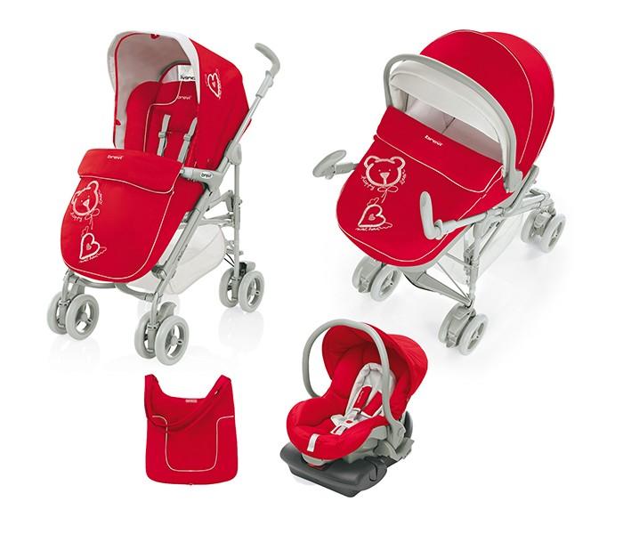 Коляска Brevi Millestrade 3 в 1Millestrade 3 в 1Коляска Brevi Millestrade 3 в 1 - итальянское качество и дизайн. Универсальная модель, в составе которой люлька для новорожденного, прогулочный блок для новорожденного и до 3-х лет, а так же автокресло-переноска группы +0.  Brevi Millestrade уникальна тем, что прогулочная коляска рекомендована для использования с самого рождения.  Люлька: для детей с 0 до 6-ти месяцев очень легкая каркас из прочного, противоударного полипропилена внутренняя мягкая, съемная подкладка (стирка при 30 градусах) может использоваться в качестве колыбельки может использоваться в качестве автокресла со специальными креплениями (приобретаются отдельно) простое крепление на шасси легкое снятие с шасси (нажмите на кнопку снаружи люльки) складной, бесшумный капюшон с отстегиваемой задней частью для проветривания регулируемая система вентиляции дна удобная, практичная и регулируемая ручка для переноски (с помощью кнопок) крючок для крепления игрушки накидка с дополнительной защитой от ветра регулируемый в 2-х положения подголовник (регулировка осуществляется снаружи люльки).  Прогулочный блок: для малышей с 0 до 3-х лет крепится на шасси в один клик съемный бампер спинка регулируется в 3-х положениях, вплоть до горизонтального устанавливается в 2-х направлениях (лицом к маме и лицом к дороге) большой, съемный, бесшумно регулирующийся капюшон капюшон со смотровым окошком и кармашком, а также крючком для крепления игрушек регулирующаяся подножка.  Автокресло-переноска Brevi Smart: для малышей с 0 до 7-8 месяцев удобная, регулирующаяся ручка для переноски крепление к шасси в один клик снятие с шасси при помощи одной кнопки может использоваться в качестве шезлонга крепится штатными ремнями автомобиля устанавливается против хода движения 3-х точечные ремни безопасности с мягкими накладками, регулируются по высоте мягкий вкладыш может быть установлено на базу Isofix (приобретается отдельно).  Шасси: легко и безопасно раскладывается алюминиевые, эллиптиче