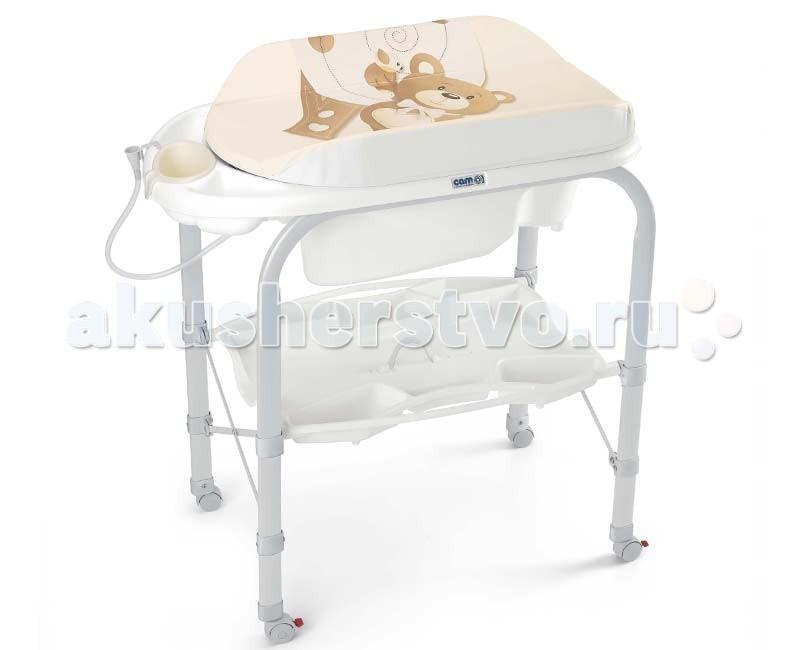 Пеленальный столик CAM CambioCambioПеленальный столик Cam Cambio это невероятно компактное и функциональное решение для молодых родителей. Пеленальный столик с мягким матрасом и ярким оригинальным дизайном выполнен из качественных материалов. Столик имеет складную конструкцию с откидывающейся пеленальной доской, оборудован небольшой и удобной в использовании анатомической ванночкой предназначенной для малышей до 12 месяцев с полкой-держателем для ванных принадлежностей. Для удобного перемещения оборудовано колесиками, 2 из которых с тормозом.  Особенности: предназначен для детей с рождения до 12 месяцев металлический каркас с закругленными углами, надежная, устойчивая конструкция, нетоксичные материалы без использования фталата съемный мягкий пеленальный матрасик с системой безопасного крепления ванночка широкая анатомическая, может использоваться в 2-х позициях (для малышей от 0 до 6 месяцев и от 6 до 12), имеет поднос для губки, мыла и отверстие для подвода воды через трубку полка для бутылочек и необходимых принадлежностей во время купания 4 колеса, 2 с тормозами  Габариты изделия: в разложенном виде (шхгхв): 95х54х104 см в сложенном виде (шхгхв): 83х31х93 см<br>