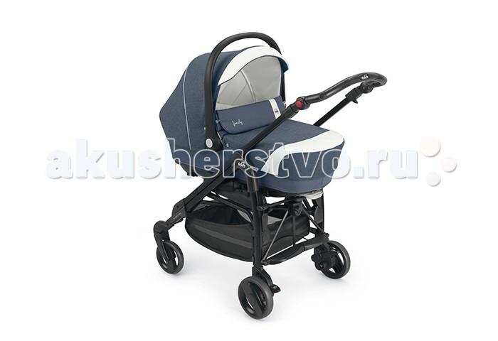 Коляска CAM Combi Family 3 в 1Combi Family 3 в 1Новая многофункциональная коляска, которая включает в себя:  люльку, которую можно перевозить в автомобиле, ремни безопасности, ручки для переноски и сумку;   автокресло ByeBye, предназначенное для детей в возрасте от 0 до 1 года (от 0 до 13 кг);  коляску Pretty с плавающими передними колесами, жестким набивным сиденьем, регулируемой в четырех положениях спинкой и в двух положениях подставкой для ножек, снабженной сеткой и тентом от солнца.  Особенности:  двойные передние колеса  шасси облегченное, компактно складывается, удобно для хранения и перевозки   независимые тормоза на все колеса  спинка прогулочного сиденья утепленная, регулируется в 4-х положениях, до 160 градусов  пятиточечные ремни безопасности  съемный бампер.   В комплект входит: 1. Люлька. Люлька предназначена для детей в возрасте от 0 до 6 месяцев, оснащена ремнями безопасности и удобной подвижной ручкой для переноски. Это самая широкая люлька в своём классе. Люлька отлично вентилируется, т.к. все внутренние покрытия люльки выполнены из 100% хлопка. Люлька имеет систему качалки, легко снимается и устанавливается при помощи оригинальной системы крепления Quicky System. Размеры: 34.3х21х83.5 см; Вес-4.9 кг.  2. Сумка. Внутренняя поверхность сумки сделана из РВХ и легко моется. Сумка стирается при температуре 30 С.  3. Автокресло. Автокресло-переноска для детей в возрасте от 0 до 13 кг. Автокресло снимается и устанавливается на шасси при помощи новой системы крепления «Quicky System». Оснащено ремнями безопасности. Ручка для переноски регулируется. Мягкое сидение и подголовник. Может крепиться как на заднем, так и на переднем сиденье автомобиля, при помощи штатных ремней безопасности. На передней и задней части имеются два удобных отделения для аксессуаров.  Может использоваться, как качалка. Размер: 44х69х60 см; Вес - 4 кг.  4. Прогулочная часть «Pretty Cross» с шасси, для детей, в возрасте от 4 месяцев до 4 лет. Шасси складывается по принципу зонтика, с