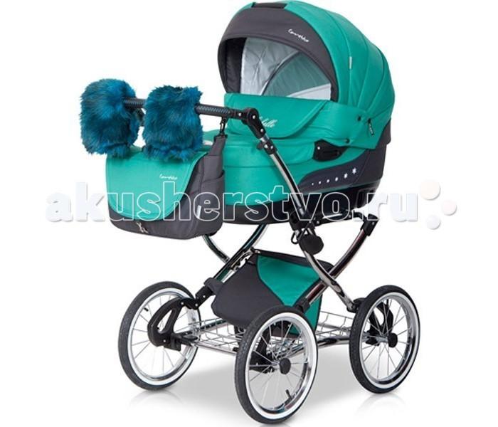 Коляска Caretto Michelle 3 в 1Michelle 3 в 1Детская коляска Caretto Michelle 3 в 1 выглядит очень презентабельно – зеркальная хромированная рама, меховые варежки для мамы с креплением на ручку коляски, дополнительная изящная сумка для покупок или игрушек с крышкой – имея такую красавицу, прогулки с малышом будут в радость маме.   Детская коляска оснащена двумя модулями, что позволит ее использовать с рождения малыша до возраста 3-х лет. Для комфорта и безопасности ребенка предусмотрены основные наполняющие – жесткий противоударный каркас, мягкая хлопковая внутренняя обивка, надежные ремни безопасности со смягчающими накладками, ограничительные элементы, не сковывающие движения малыша.  Общие характеристики: два сменных модуля для детей до 3-х лет стильная и надежная хромированная рама регулируемая высота ручки большой диаметр колес для максимальной проходимости надувные резиновые колеса с дисками на спицах отличная амортизация функция укачивания ножная независимая тормозная система механизм складывания шасси - «книжка» имеет две корзины для покупок (металлическую и текстильную подвесную) в комплекте меховые варежки для мамы  Люлька: используется с рождения ребенка до 6 месяцев внутренняя обивка – 100 % хлопок широкое спальное место жесткое дно  вся внутренняя обивка съемная, допускается стирка в стиральной машине  регулируемая высота подголовника  высокий барьер от плохой погоды ремни для переноски  большой всесезонный капюшон  Прогулочный блок: для детей с 6 месяцев  дополнительный вкладыш для максимального комфорта наклон спинки регулируется  защитный бампер центральный разделитель ножек из текстиля пятиточечные ремни безопасности с мягкими плечевыми накладками  подножка регулируется по высоте большой надежный капюшон  утепленный чехол на ножки  Автокресло: группа 0/0+ для детей весом от 0 до 13 кг установка против хода движения автомобиля  крепление в авто на автомобильные ремни безопасности  возможно использование в качестве шезлонга крепится на шасси  Дополните