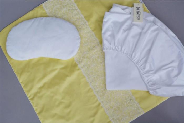 Комплект в кроватку Chepe Нежность (3 предмета)Нежность (3 предмета)Комплект в кроватку Chepe Нежность (3 предмета) для детей с рождения.  Все материалы натуральные, экологически чистые и не вызывают аллергии, что так важно при выборе постельного белья для самых маленьких. В сочетании с безукоризненным качеством пошива и прекрасным дизайном эти преимущества делают комплект замечательным вариантом для оформления спального места в детской комнате.  В комплекте: Плед Подушка-боб Простыня круглая 75 х 75 см Материал верха: 100% хлопок Материал подклада: 100% хлопок<br>