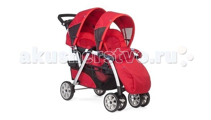 Chicco Коляска для двойни Together TwinКоляска для двойни Together TwinВсесезонная прогулочная коляска для двойни или детей-погодков. Просторные и удобные сидения в ней расположены друг за другом, что позволяет без труда проходить в стандартные дверные проемы и лифты. Заднее сидение Chicco Together Twin имеет полностью горизонтальное положение и может быть использовано для новорожденного малыша. При этом коляску можно свободно использовать до достижения детьми трех-четырех лет.   Прогулочный блок: переднее сидение предназначено для детей от 6 месяцев и старше заднее сидение имеет полностью горизонтальное положение и может быть использовано для новорожденного малыша два удобных независимых сидения с капюшонами сидения расположены паровозиком максимальная нагрузка на каждое из сидений – 15 кг пятиточечные ремни и съемные бамперы – для максимальной безопасности капюшоны регулируемые стильный дизайн  Шасси: удобные ручки эргономичной формы нескользящее покрытие ручек 6 прочных колес из пластика передние колеса – сдвоенные, фиксируемые поворотные независимые тормоза на задних колесах легкая рама из алюминия вместительная корзина для покупок механизм складывания – книжка есть возможность устанавливать на шасси автокресла группы 0+  В комплекте: дождевик чехол на ножки  Размеры: в разложенном виде (дxшхв) 117x59x102 см в сложенном виде (дxшхв) 112х59х52 см Вес: 14.7 кг<br>