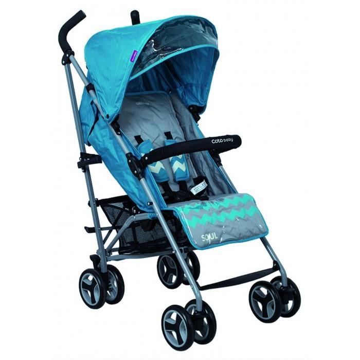 Коляска-трость CotoBaby SoulSoulКоляска-трость CotoBaby Soul - это прочная и практичная прогулочная коляска, которая компактно складывается, но при этом обладает комфортабельностью «книжки». Ее удобно взять с собой в длительную поездку, или использовать для прогулок с подросшим ребенком.   Coto Baby Soul  подойдет для детей с возраста, когда они научатся сидеть самостоятельно, и до достижения веса 15 кг. В дизайне использовано беспроигрышное сочетание нейтрального, немаркого серого и ярких цветовых акцентов.  Особенности: Модель имеет легкую алюминиевую раму, которая в сложенном виде легко помещается в багажник или хранится в квартире.  Коляска имеет небольшие, сдвоенные для большей устойчивости колеса, причем передние, как и у большинства аналогичных моделей, поворотные с возможностью фиксации.  Педали тормоза находятся и на правой, и на левой паре задних колес, так что зафиксировать колеса на время остановки, посадки или высадки малыша можно с любой стороны, а разблокировать – нажатием ногой поперечной планки на задней оси.  Ручки – рога имеют приятное на ощупь покрытие из вспененной резины.  Угол наклона прогулочного блока легко регулировать, установив одно из 3 доступных положений.  Подножку можно поднять, обустроив для малыша удобное спальное место. Отличительная черта коляски – просторное сиденье, шириной 34 см. На нем будет комфортно и тепло укутанному карапузу.  Пятиточечные ремни безопасности с мягкими накладками рекомендуется использовать всегда.  Есть съемный поручень-бампер с текстильной перемычкой между ножек, которые не дают малышу соскальзывать вниз с сиденья.  Регулируемый капюшон имеет сверху дополнительный сектор – сетчатое окошко, которое обеспечивает дополнительную вентиляцию и одновременно позволяет увидеть, чем занят ребенок.  Комплект дополнен накидкой на ножки, достаточно просторной, с высоким отворотом, надежно защищающим юного путешественника от непогоды, ветра и сквозняков.<br>