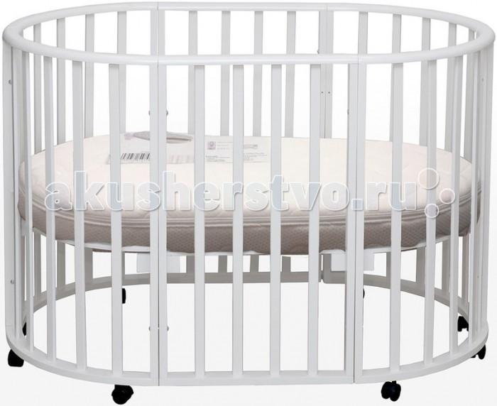 Кроватка-трансформер Daka Baby Genesis Gallileo 3 в 1Genesis Gallileo 3 в 1Кроватка-трансформер Daka Baby Genesis Gallileo 3 в 1 — экологичная и безопасная детская кроватка-трансформер Genesis Gallileo для детей от рождения до 5 лет.   рансформирование происходит из круглой кроватки для новорожденных детей до 6-ти месячного возраста в овальную до 5-ти летнего возраста ребенка. Кроватку Gallileo характеризует высокое качество обработки массива березы. А также высококачественные краски и лаки. Кроватка оборудована тремя уровнями спального ложа и колесами, что позволит легко перемещать ее в комнатном пространстве. Данная кровать трансформируется в круглую кровать, овальную, а также в манеж.  Круглая форма маленькой колыбельки напоминает новорожденному мамин животик, малышу будет очень уютно и комфортно, как бы он не поворачивался (в такой кроватке абсолютно неважно, где ножки, а где голова малыша).  Особенности: легко трансформируется в колыбельку для новорожденных размером 75х75 мм с рейками на безопасном расстоянии кроватка размером 125х75 см манеж для игры и сна положения по высоте наличие оптимальной естественной вентиляции дна (спального ложа) Материал: сделана из экологически чистых и прочных материалов — массива березы Кроватка покрыта специальным гипоаллергенными лаком и краской из натуральных компонентов<br>