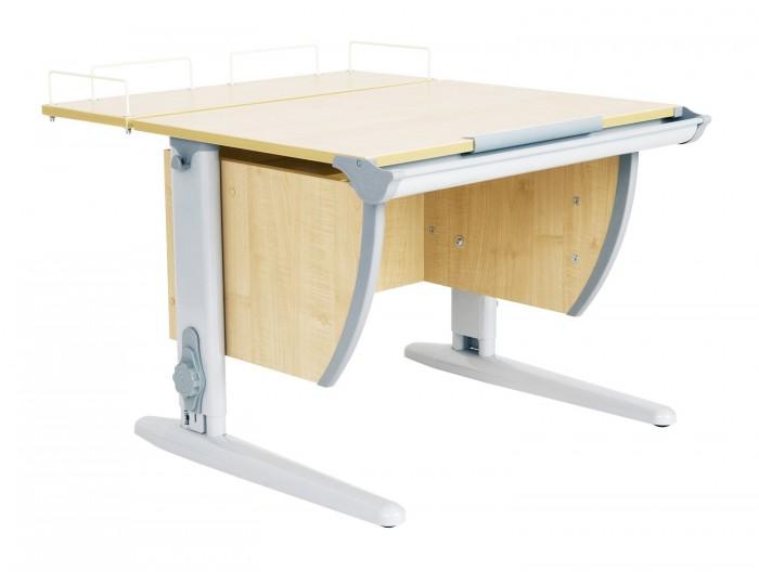 Дэми Стол универсальный трансформируемый СУТ.14-01 (столешница клен)Стол универсальный трансформируемый СУТ.14-01 (столешница клен)Дэми Стол универсальный трансформируемый СУТ.14-01 (столешница клен) отличается от модели СУТ 14 только наличием задней приставки, используемой для монитора, принтера или любого другого сопутствующего учебному процессу предмета. Размер парты Дэми СУТ 14-01 с учетом приставки -75 см x 80 см.  Когда Вы отрегулируете угол наклона столешницы вашей парты Деми, задняя приставка останется неподвижной, на ней удобно хранить различные школьные принадлежности, учебники, тетради, кисти для рисования и т.д. Первоклассник будет использовать приставку для книг и тетрадей, школьники постарше смогут поставить на приставку монитор компьютера, а совсем маленькие ученики или дошкольники, возможно, поселят на приставку любимые игрушки!  Приставка крепится к задней стенке парты трансформера Деми на специальных кронштейнах и помимо вышеописанных полезных свойств имеет еще по своему периметру металлические ограничительные бортики, препятствующие непроизвольному смахиванию добра, лежащего на приставке. Это красиво и удобно.  Детская парта Деми СУТ 14-01 имеет 9 ступенчатый механизм наклона столешницы производства Shatti (Германия). Занимаясь за школьной партой Деми, ребенок выбирает оптимальный угол наклона столешницы от 0 до 26° в зависимости от того рисует он, читает или пишет. Комплект СУТ 14-01 можно купить как для первоклассника, так и для подростка, ведь парта СУТ 14-01, как и все модели парт Деми, адаптируется под рост ребенка от 110 до 198 см, а благодаря удачным цветовым решениям, растущая парта впишется в интерьер любой квартиры.  Производитель Деми позаботился о том, чтобы парта стала любимым предметом в детской как для мальчика, так и для девочки, предусмотрев исполнение всех моделей парт Дэми в сером, синем, розовом, зеленом и оранжевом цвете. Столешница, выполненная из экологически чистого ЛДСП, классически выпускается в двух цветах: клен (светлый