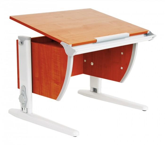 Дэми Стол универсальный трансформируемый СУТ.14-01 (столешница яблоня)Стол универсальный трансформируемый СУТ.14-01 (столешница яблоня)Дэми Стол универсальный трансформируемый СУТ.14-01 (столешница яблоня) отличается от модели СУТ 14 только наличием задней приставки, используемой для монитора, принтера или любого другого сопутствующего учебному процессу предмета. Размер парты Дэми СУТ 14-01 с учетом приставки -75 см x 80 см.  Когда Вы отрегулируете угол наклона столешницы вашей парты Деми, задняя приставка останется неподвижной, на ней удобно хранить различные школьные принадлежности, учебники, тетради, кисти для рисования и т.д. Первоклассник будет использовать приставку для книг и тетрадей, школьники постарше смогут поставить на приставку монитор компьютера, а совсем маленькие ученики или дошкольники, возможно, поселят на приставку любимые игрушки!  Приставка крепится к задней стенке парты трансформера Деми на специальных кронштейнах и помимо вышеописанных полезных свойств имеет еще по своему периметру металлические ограничительные бортики, препятствующие непроизвольному смахиванию добра, лежащего на приставке. Это красиво и удобно.  Детская парта Деми СУТ 14-01 имеет 9 ступенчатый механизм наклона столешницы производства Shatti (Германия). Занимаясь за школьной партой Деми, ребенок выбирает оптимальный угол наклона столешницы от 0 до 26° в зависимости от того рисует он, читает или пишет. Комплект СУТ 14-01 можно купить как для первоклассника, так и для подростка, ведь парта СУТ 14-01, как и все модели парт Деми, адаптируется под рост ребенка от 110 до 198 см, а благодаря удачным цветовым решениям, растущая парта впишется в интерьер любой квартиры.  Производитель Деми позаботился о том, чтобы парта стала любимым предметом в детской как для мальчика, так и для девочки, предусмотрев исполнение всех моделей парт Дэми в сером, синем, розовом, зеленом и оранжевом цвете. Столешница, выполненная из экологически чистого ЛДСП, классически выпускается в двух цветах: клен (с