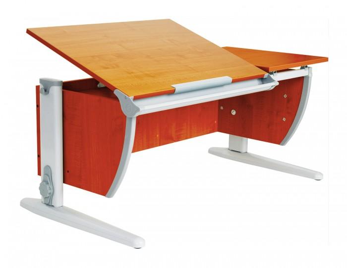 Дэми Стол универсальный трансформируемый СУТ.17-01 (столешница яблоня)Стол универсальный трансформируемый СУТ.17-01 (столешница яблоня)Дэми Стол универсальный трансформируемый СУТ.17-01 (столешница яблоня)- это модель с раздельной столешницей, с задней приставкой, но без подвесной тумбы.  Детская парта Деми СУТ 17-01 имеет 9-ти ступенчатый механизм наклона столешницы производства Shatti (Германия). Занимаясь за школьной партой Деми, ребенок выбирает оптимальный угол наклона столешницы от 0 до 26° в зависимости от того рисует он, читает или пишет. Комплект СУТ 17-01, как и все модели парт Деми, адаптируется под рост ребенка от 110 до 198 см, а благодаря удачным цветовым решениям, растущая парта впишется в интерьер любой квартиры.    В дополнение к комплекту СУТ 17-01 можно приобрести растущий стул Деми или эргономичное кресло. Это очень важное дополнение к растущей парте трансформеру Деми, потому как ученический стул или кресло также растет вместе с ребенком как и парта, обеспечивая правильное положение ребенка за столом во время долгих занятий дома. Подвижная конструкция стула Дэми предотвращает искривление позвоночника, поддерживает правильную посадку и способствует формированию правильной осанки. Возможность многоуровневой регулировки ученического стула Дэми по глубине и высоте сидения, адаптирует эргономический стул под рост именно Вашего ребенка.  Ученический стол и стул Дэми займет совсем немного места в детской комнате, но станет самым удобным и любимым уголком школьника.  Ребенок будет заниматься с удовольствием, сидя за правильным растущим столом Деми на правильном ученическом стуле Деми, сохраняя свое здоровье и осанку!  Особенности: Для детей ростом от 110 до 198 см. Регулировка угла наклона столешницы. С раздельной столешницей 75х55 см и 43х55 см. Желоб для канцелярских принадлежностей. В комплекте две задние приставки 60х25 см.<br>