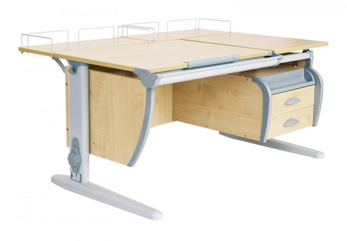 Дэми Стол универсальный трансформируемый СУТ.17-04 (столешница клен)Стол универсальный трансформируемый СУТ.17-04 (столешница клен)Дэми Стол универсальный трансформируемый СУТ.17-04 (столешница клен)- это модель с раздельной столешницей, с двумя задними приставками с подвесной тумбой на 3 ящика.  Детская парта Деми СУТ 17-04 имеет 9-ти ступенчатый механизм наклона столешницы производства Shatti (Германия). Занимаясь за школьной партой Деми, ребенок выбирает оптимальный угол наклона столешницы от 0 до 26° в зависимости от того рисует он, читает или пишет. Комплект СУТ 17-04, как и все модели парт Деми, адаптируется под рост ребенка от 110 до 198 см, а благодаря удачным цветовым решениям, растущая парта впишется в интерьер любой квартиры.  В комплект СУТ 17-04 может входить растущий стул Деми или эргономичное кресло. Это очень важное дополнение к растущей парте трансформеру Деми, потому как ученический стул также растет вместе с ребенком как и парта, обеспечивая правильное положение ребенка за столом во время долгих занятий дома. Подвижная конструкция стула Дэми предотвращает искривление позвоночника, поддерживает правильную посадку и способствует формированию правильной осанки. Возможность многоуровневой регулировки ученического стула Дэми по глубине и высоте сидения, адаптирует эргономический стул под рост именно Вашего ребенка.  Особенности: Для детей ростом от 110 до 198 см. Регулировка угла наклона столешницы. С раздельной столешницей 75х55 см и 43х55 см. Желоб для канцелярских принадлежностей. В комплекте подвесная тумба на два ящика с пеналом. В комплекте две задние приставки 60х25 см.<br>