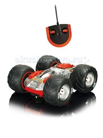 Dickie Радиоуправляемый автомобиль перевертышРадиоуправляемый автомобиль перевертышМашина Dickie Перевертыш на радио управлении будет отличным подарком для вашего ребенка. Во время прогулки детки могут взять автомобиль с собой и устроить гонки.   Особенности:    Мощный привод колес обеспечивает максимальную скорость 10 км/ч.  Машинка-перевертыш имеет звуковые и световые эффекты.  Движение машины сопровождается звуком.  Корпус машины выполнен из прочного материала, который не боится легких механических повреждений на крутых виражах.  Перевертыш имеет большие резиновые колеса, которые не скользят по полу, обеспечивают плавность при движении, благодаря большому диаметру колес, машина удерживает равновесие на виражах.  Машина приводится в движение от 2 канального пульта управления, который работает на частотах 27 и 40 Мгц.   Масштаб 1:14   Батарейки в комплекте.   Размер: 25 см<br>