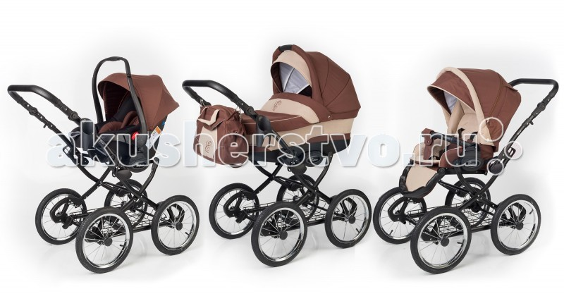 Коляска Esspero Classic 3 в 1 (шасси Black)Classic 3 в 1 (шасси Black)Детская коляска 3 в 1 Esspero Classic - это практичность, удобство и приятная цена! Рама Classic – излюбленный выбор родителей последние несколько десятилетий – высококачественный алюминий, из которого изготовлена рама, усиленный каркас и превосходная амортизация. Данный тип модульных колясок очень удобен, так как совмещает в себе практически все самое необходимое для молодых родителей, чтоб прогулки с малышом были качественными и приятными для всех. Оба модуля, по мере взросления ребенка, без труда устанавливаются на единую алюминиевую раму классической формы. Кроме того, их возможно устанавливать в двух направлениях движения. Коляска получила проходимые надувные колеса из резины с увеличенным диаметром. Их можно легко снимать с шасси.  Рама: Шасси выполнено из высококачественного алюминия Усиленная рама за счет серединной перекладины (не люфтит) Удобная система стопов Крепления выполнены из высокопрочного сплава. Специальная система фиксации люльки и прогулочного блока – easy-fix Съемная грузовая металлическая корзина Мягкая закрытая пружинная подвеска Прочная каучуковая покрышка Все колеса съемные Мягкая пружинная амортизация Страховочная петля Диаметр колеса – 36 см, ширина покрышки – 4 см, что обеспечивает плавный ход и отличную проходимость Семь положений регулировки ручки по высоте  Ручка дополнительно декорирована экокожей Все кнопки и фиксаторы с мягкой внутренней пружиной, расположены внутри каркаса Удобная система сложения «книжкой» Предусмотрено специальное крепление для сумки  Люлька: Люлька выполнена с учетом всех современных требований, рассчитана на любые погодные условия Увеличенные борта по высоте обеспечивают безопасность малыша во время прогулок Увеличена длина и ширина люльки Предусмотрена функция колыбели Встроенная москитная сетка для наибольшего комфорта при прогулках Дно коляски выполнено из высококачественного пластика Матрасик и внутренняя вкладка выполнены из экологичес