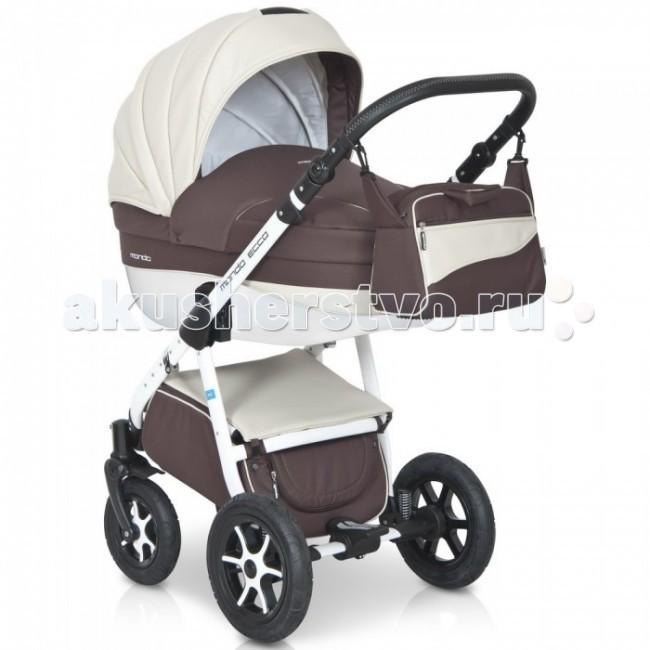 Коляска Expander Mondo Ecco 3 в 1Mondo Ecco 3 в 1Коляска Mondo Ecco 3 в 1 от Польского производителя Expander предназначена для детей с рождения и до 3-х лет.   Современная коляска в оригинальном стильном дизайне, обладает отменными эксплуатационными качествами и высокой надежностью, гарантирует удобство не только ребенку, но и родителям.   Коляска Mondo Ecco укомплектована автокреслом-переноской, комфортной люлькой и прогулочным блоком, которые легко устанавливаются на раму, как по ходу, так и против хода движения, т.е. «лицом к маме».   Люлька коляски просторная, обтекаемой формы позволит малышу чувствовать себя комфортно как зимой, так и летом. Бортики люльки дополнительно утеплены изнутри, что защищает малыша от ветра и непогоды во время прогулок.  Комфортное и удобное прогулочное сиденье для подросшего малыша предоставит наилучшие условия для увлекательных прогулок и изучения окружающего мира. Для этого спинка сиденья может устанавливаться в нескольких положениях, а подножка регулируется по высоте.   Модель коляски очень удобна и маневренна благодаря небольшому весу, всего 14 кг, и ширины колесной базы в 60 см, позволяющей провезти коляску практически в любую дверь или лифт. Коляска оснащена пружинной амортизацией, большими маневренными колесами и надежной алюминиевой рамой. Коляска с такими характеристиками без проблем преодолевает самые разные препятствия на своем пути, не боится снега, дождя и грязи.   Выполнена коляска на облегчённой алюминиевой раме в белом цвете. Люлька изготовлена из прочного пластика, верхняя часть коляски из экологически чистой морозостойкой эко-кожи, с влагостойкой пропиткой и защитой от солнечных лучей.  Превосходное сочетание дизайна и европейского качества!   Автокресло-переноска:   Автокресло для детей (группа + 0 до 13 кг.)   Анатомическая форма сиденья   Имеется адаптер, который позволяет закрепить автокресло на раму коляски   Трехточечные ремни безопасности с центральным замком   Удобная ручка для переноски   Регулируемый капюш