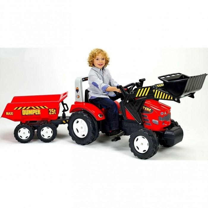 Falk Педальная машина Трактор-экскаватор с прицепомПедальная машина Трактор-экскаватор с прицепомТрактор-экскаватор Falk педальный с прицепом. Транспортное средство с цепным приводом, приводящимся в действие за счёт нажатия педалей. Путешествуя по дворам, аллеям и паркам, юный шофёр располагается в комфортном сиденье, которое регулируется под его рост. С помощью удобных ручек можно управлять грейдерным ковшом. А вместительный прицеп даёт возможность взять на прогулку игрушки или какие-то нужные вещи. Маневренность машины обеспечивают широкие устойчивые колёса, управляемые подвижным рулём с сигнальным гудком.  Особенности:  Рекомендуется детям от 3 до 7 лет Использованы прочные и безопасные материалы Маневренный трактор с вместительным прицепом изготовлен из прочного пластика Движется трактор с помощью педалей за счет прочной системы цепного привода, развивая мышцы ног ребенка и координацию движений Привод на одно колесо Большие широкие колеса c глубоким протектором позволяют трактору передвигаться по любой поверхности дороги – асфальту, лужам, грунту, камням, песку и траве У трактора 4 колеса - 2 больших задних и 2 передних поменьше У прицепа 4 колеса - по 2 колеса с обеих сторон Широкое и высокое сиденье с задним бампером над сиденьем придают этому трактору особую значимость Руль легко поворачивается, что обеспечивает простоту в управлении, оснащен клаксоном В прицепе можно перевозить любимые игрушки, листву, снег и песок Уникальные крепежи впереди на бампере, между трактором и прицепом позволят использовать трактор с прицепом и без него, прикреплять другой транспорт на буксир Ковшом можно копать землю, зачерпывать воду, снег, листву Максимальная нагрузка - 50 кг<br>