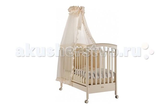 Детская кроватка Feretti SauvageSauvageДетская кроватка Feretti Sauvage рекомендована для детей с рождения.  Красивый и оригинальный дизайн порадует Вас и вашего малыша. Кроватка изготовлена из массива бука. При изготовлении используются только натуральные и нетоксичные лаки, краски и клей.  Особенности: Рейки обеспечивают надежное крепление матрас Два уровня положения дна Две регулирующийся стенки Механизм регулировки борта одной рукой Бортики снабжены силиконовыми накладками Выдвижной ящик для постельного белья или игрушек Съёмные, самоцентрирующиеся колеса, снабжены 2 тормозами Украшена аппликацией Колёса съёмные, самоцентрирующиеся колеса, снабжены 2 тормозами (полозья для качания)<br>