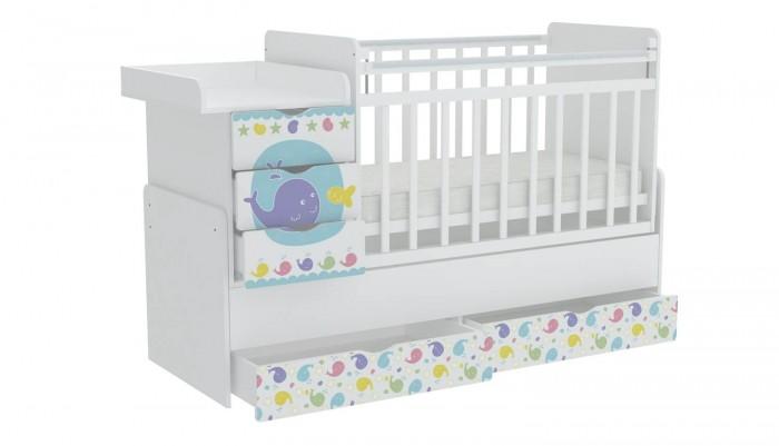 Кроватка-трансформер Фея 1150 Морская история1150 Морская историяФея Кроватка-трансформер 1150 Морская история для новорожденных оснащена ортопедическим ложем, что очень важно для правильного развития малыша.  Ложе кроватки можно устанавливать в 3-х положениях по высоте: чтобы маме было удобно поднимать и класть в кроватку новорожденного ложе устанавливается в самое верхнее положение. Когда малыш научится переворачиваться и садиться ложе следует опускать ниже.  При этом мама сможет опустить бортик, если будет укладывать или поднимать малыша.   Данная модель трансформера соответствует всем нормам безопасности. Каждая кроватка оборудована пластиковыми накладками на бортики, чтобы Ваш ребенок не испортил зубки. В комплект входит независимый комод с 3 ящиками и пеленальный столик. Эта кровать - оснащена механизмом качания (маятник поперечного качания),что позволит убаюкать малыша в считанные минуты.  Преимущества: кроватка трансформируется в подростковую кровать и независимую приставную тумбу 5 вместительных выдвижных ящиков для одежды и игрушек УШКО - механизм опускания планки ортопедическое основание широкая поверхность для пеленания маятниковый механизм поперечного качания накладки ПВХ для детей от 0 до 12 лет МДФ фасады с рисунком. Габариты: Размер кроватки (ВхДхШ) – 110 х 173.2 х 65.6 см Размер детского ложа – 60 х 120 см Размер подросткового ложа – 60 х 170 см<br>