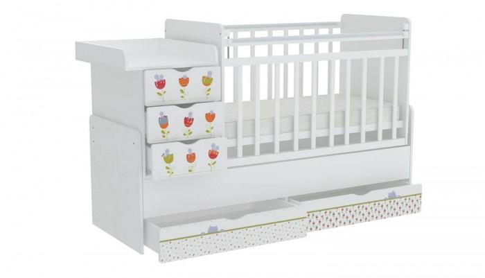 Кроватка-трансформер Фея 1150 Сонные котята1150 Сонные котятаФея Кроватка-трансформер 1150 Сонные котята для новорожденных оснащена ортопедическим ложем, что очень важно для правильного развития малыша.  Ложе кроватки можно устанавливать в 3-х положениях по высоте: чтобы маме было удобно поднимать и класть в кроватку новорожденного ложе устанавливается в самое верхнее положение. Когда малыш научится переворачиваться и садиться ложе следует опускать ниже.  При этом мама сможет опустить бортик, если будет укладывать или поднимать малыша.   Данная модель трансформера соответствует всем нормам безопасности. Каждая кроватка оборудована пластиковыми накладками на бортики, чтобы Ваш ребенок не испортил зубки. В комплект входит независимый комод с 3 ящиками и пеленальный столик. Эта кровать - оснащена механизмом качания (маятник поперечного качания),что позволит убаюкать малыша в считанные минуты.  Преимущества: кроватка трансформируется в подростковую кровать и независимую приставную тумбу 5 вместительных выдвижных ящиков для одежды и игрушек УШКО - механизм опускания планки ортопедическое основание широкая поверхность для пеленания маятниковый механизм поперечного качания накладки ПВХ для детей от 0 до 12 лет МДФ фасады с рисунком. Габариты: Размер кроватки (ВхДхШ) – 110 х 173.2 х 65.6 см Размер детского ложа – 60 х 120 см Размер подросткового ложа – 60 х 170 см<br>