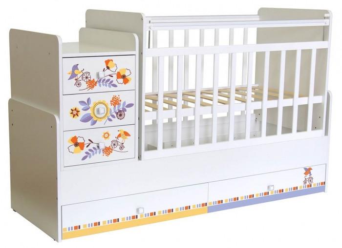 Кроватка-трансформер Фея 1100 Прогулка1100 ПрогулкаКроватка-трансформер Фея 1100 Прогулка - это удивительное сочетание современных технологий, цветовой гаммы и многофункциональности. Большой выбор расцветок позволит подобрать кроватку под любой интерьер. Модель оснащена ортопедическим ложем для правильного развития ребенка. Передняя стенка кроватки с опускающейся верхней планкой для удобного доступа к новорожденному малышу. Имеются 2 вместительных ящика у основания для хранения детских вещей и игрушек.  Уникальность кроватки Фея 1100 в том, что она трансформируется в: подростковую кровать (ложе 60 х 170 см),   независимую тумбу с 3-мя ящиками. Достоинства: Ушко- механизм опускания планки, ортопедическое основание,  включает в себя 2 положения ложа,  5 вместительных выдвижных ящиков (2-больших ящика в кровати, 3-ящика в тумбе), удобная поверхность для пеленания, маятник поперечного качания, накладки на бортики из ПВХ. Модель Фея 1100 изготовлена из натуральных материалов, которые соответствуют всем нормам безопасности. Эту кроватку мы рекомендуем использовать с 0 до 15 лет.  Габариты: Размер кроватки- трансформера (ВхШхГ) – 110 х 173,2 х 63,8см Размер детского ложа – 60 х 120 см Размер подросткового ложа – 60 х 170 см Размер тумбы (ВхШхГ) – 63 х 41,6 х 63,8 см<br>