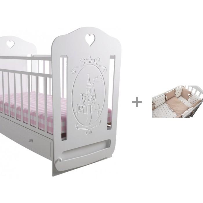Детская кроватка Forest Принцесса маятник поперечный с комплектом в кроватку Dream (2 предмета)