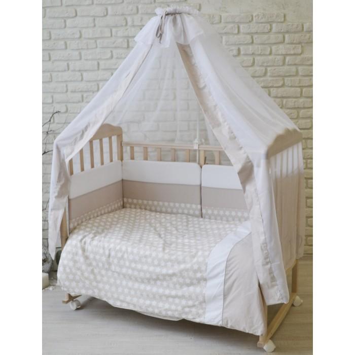 Комплект в кроватку Forest Little Stars (7 предметов)Little Stars (7 предметов)Комплект в кроватку Forest Little Stars со звездочками - очаровательный комплект, выполненный в нежных оттенках, станет прекрасным украшением для кроватки Вашего малыша.  Комплект состоит из всего самого необходимого, что может понадобиться вашему малышу для крепкого и здорового сна в первые годы жизни.  Изготовлен из поплина (100% хлопок) высокого качества.   Поплин - это натуральная ткань на базе хлопка.  Мягкий и приятный на ощупь, Хорошо впитывает влагу и пропускает воздух, Отлично сохраняет тепло, Не требует глажки после стирки.  В комплект входит: Бортик по всему периметру со съемным чехлом 360х40 см Одеяло 110х140 см Пододеяльник 110х140 см Наволочка 60х40 см Подушка 60х40 см Простынь на резинке  Балдахин 165х300 см  Комплект постельного белья Forest Little Stars прекрасно дополнит сменная простыня на резинке Stars (поплин)<br>