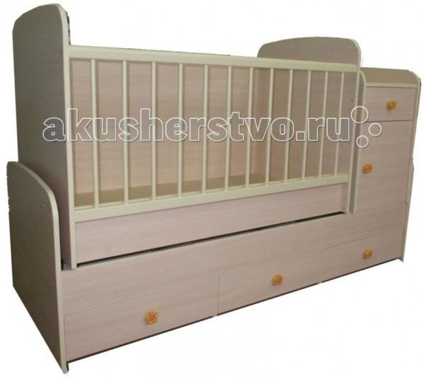 Кроватка-трансформер Glamvers MultyMultyКроватка-трансформер Glamvers Multy  Кровать Multy 3 в 1 для детей от 0 до 14 лет. Кроватка трансформируется в подростковую кровать (размер 1600х700)+стол+комод.  В комплекте матрас(кокос+холлофайбер 8см)+пеленальный столик.  Особенности: кровать-трасформер 3 в 1,материал ЛДСП+бук в комплект входит - матрас+пеленальный столик маятниковый механизм качания решетка опускается- несколько положений  силиконовые накладки  два уровня положения ложа возможность установить комод как лева так и справа кровать для подростка 14 лет   Размер кроватки для новорожденных: 110х60 Размер кроватки для подростков: 160х70<br>