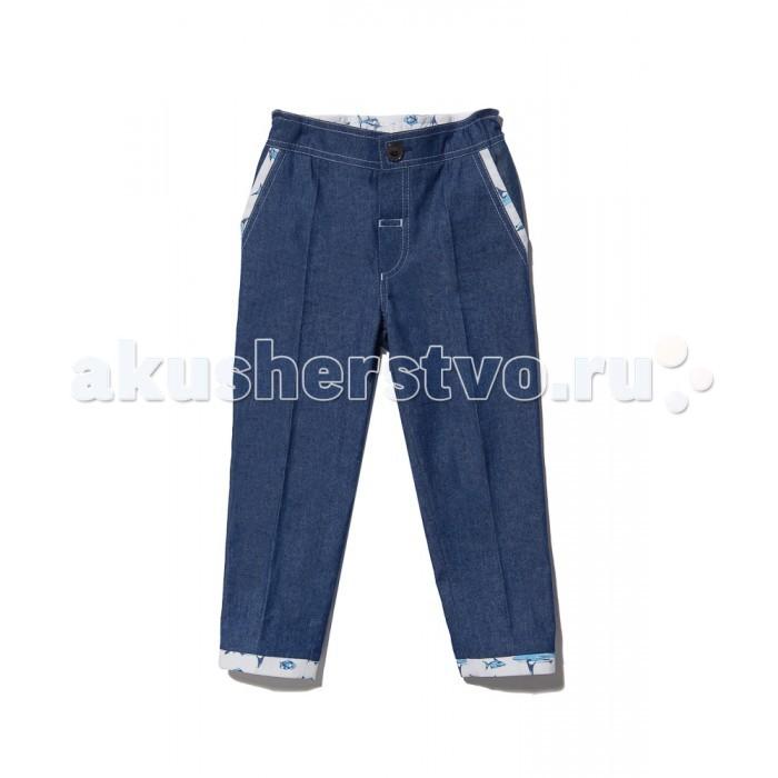 Брюки, джинсы и штанишки Goldy Брюки для мальчика goldy белый с голубыми манжетами